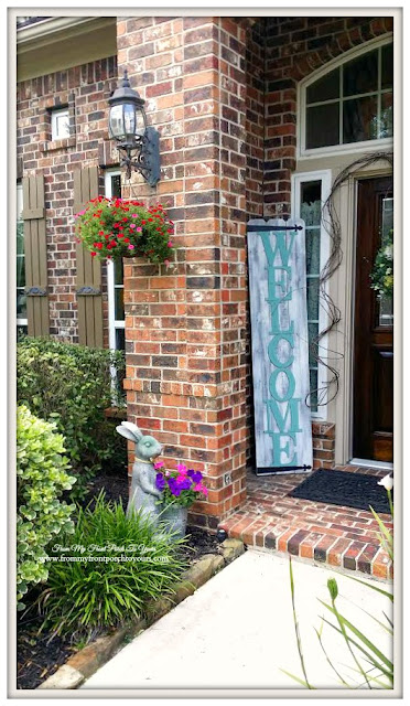 Hanging Flower Basket-Rabbit Planter- Welcome Sign-Curb Appeal- From My Front Porch To Yours