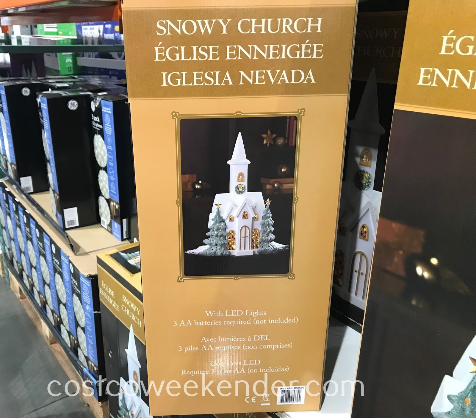 Costco 1900287 - Snowy Church with LED Lights: great for Christmas