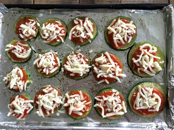 Add Mozzarella Cheese to Zucchini Pizza Bites  from Walking on Sunshine