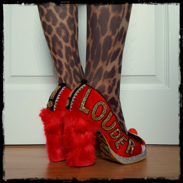 wearing Irregular Choice Muppets Animal heels with gold glitter Louder applique