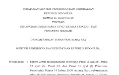 Permendikbud No 15 Tahun 2018 Pemenuhan Beban Kerja Guru, Kepala Sekolah, Dan  Pengawas Sekolah