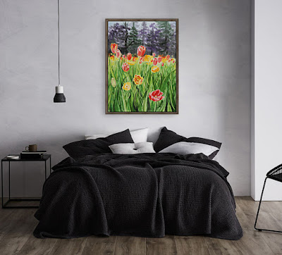 Painting Of Tulips in Bedroom Interior Decor