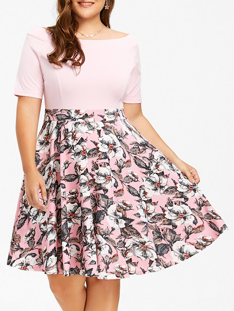 Plus Size Boat Neck Floral Print Dress