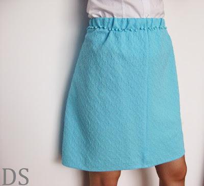 Błękitna żakardowa spódnica / blue skirt / blauen Rock