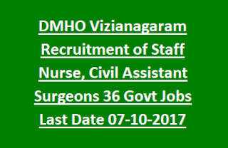 DMHO Vizianagaram Recruitment of Staff Nurse, Civil Assistant Surgeons 36 Govt Jobs Notification Last Date 07-10-2017