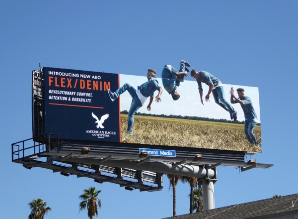 American Eagle Outfitters Flex Denim somersault billboard