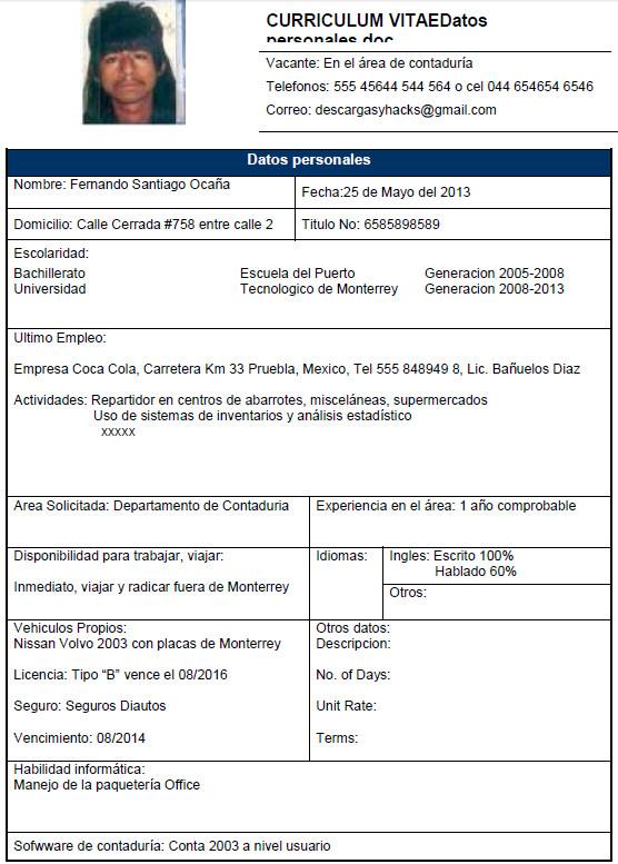 Curriculum vitae formato word para mexico writing paper help