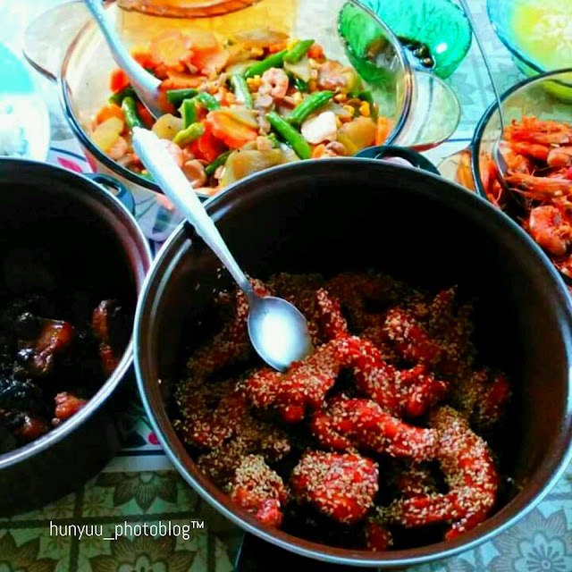 chop suey, pork humba, spicy buffalo wings, sweet-spicy-garlicky shrimp