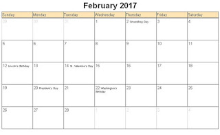 february calendar, Printable Calendar 2017, Printable February Holiday Calendar 2017, Calendar 2017