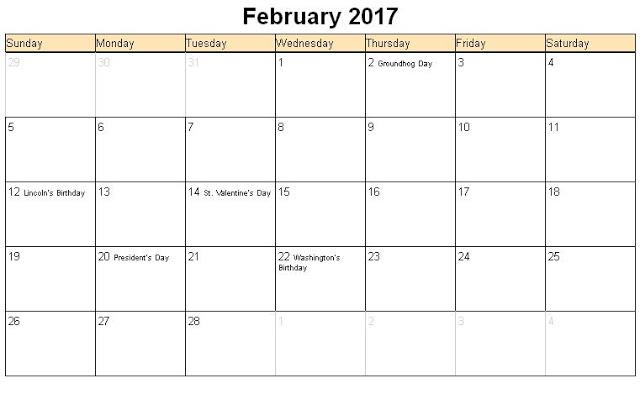 Printable Calender: Printable Calendar February 2017 Pdf | Excel