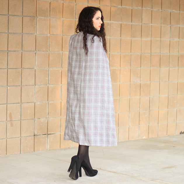 SheIn Plaid Cape Blazer