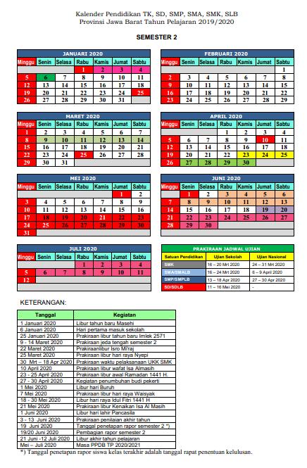 KALENDER PENDIDIKAN PROVINSI JAWA BARAT 2019/2020
