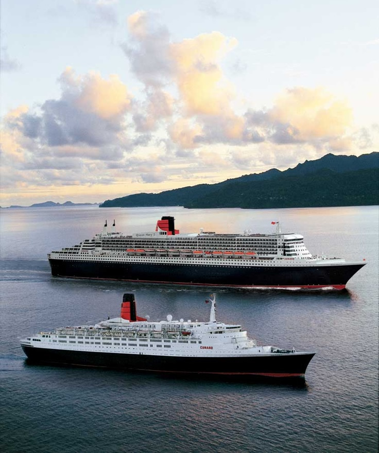 Transportation on the Oceans - Queen Mary 2 and Queen Elizabeth 2 sailing side-by-side