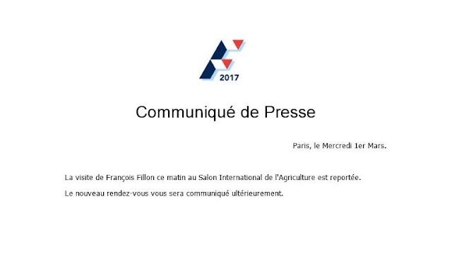 François Fillon reporte sa visite au salon de l'agriculture