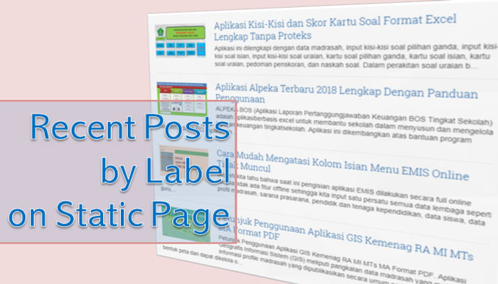 Cara Membuat Recent Posts by Label on Static Page Blogger AMP HTML