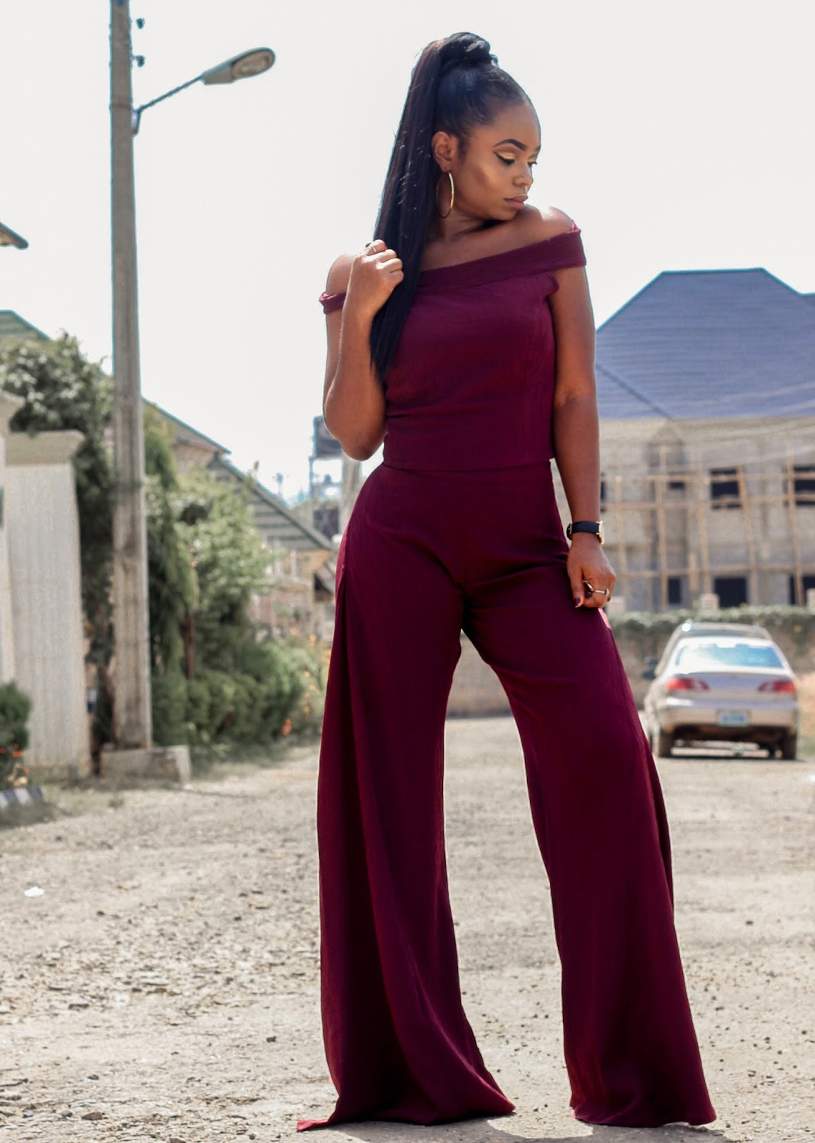 KITAU TOP & FLARED PANTS - Burgundy colored 2 piece set; top and Flared Pants