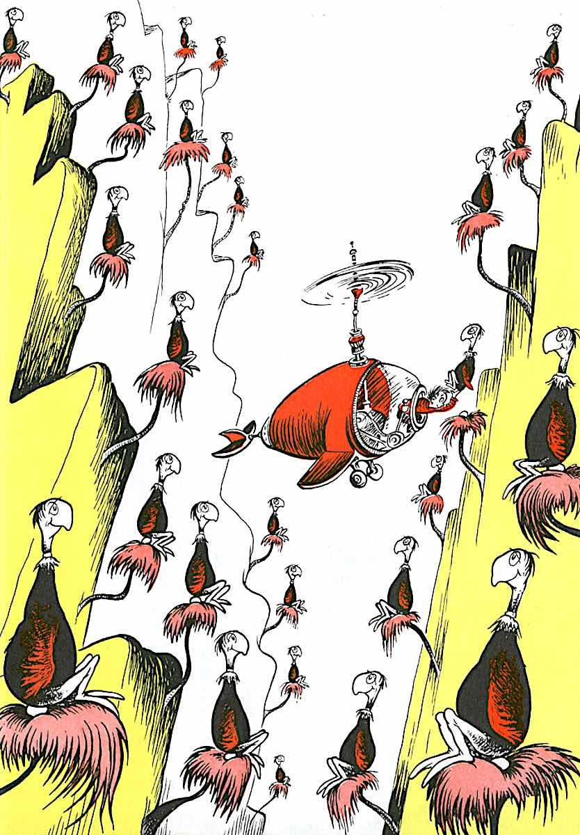 a Dr. Seusse color illustration of exotic birds in nests