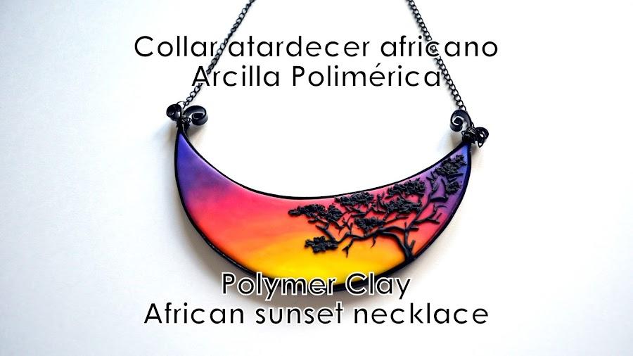 collar atardecer africano arcilla polimérica
