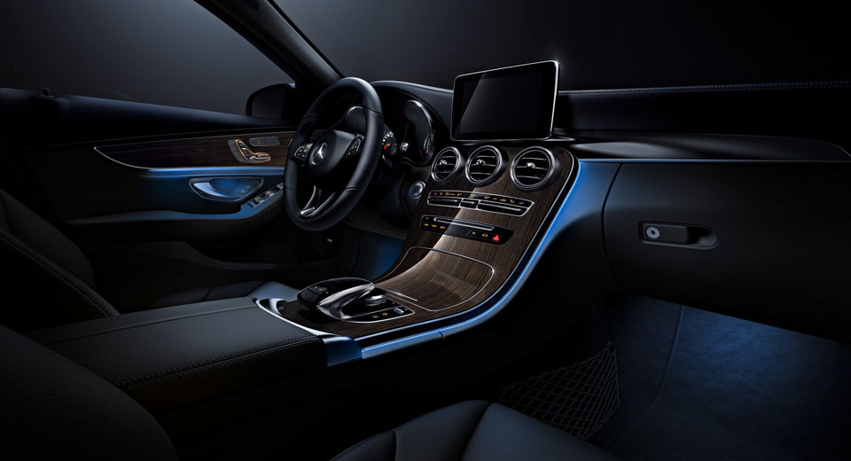 mercedes benz c class receives s class inspired ambient lighting. Black Bedroom Furniture Sets. Home Design Ideas