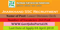 Jharkhand Staff Selection Commission Recruitment 2018 – 265 Lower Division Clerk