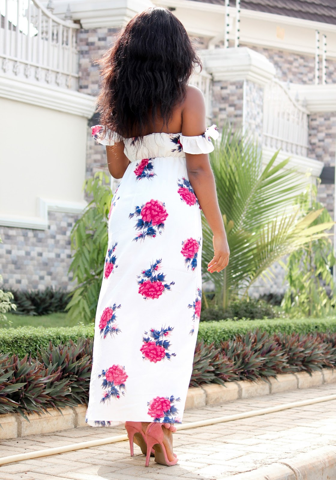 FLORAL PRINT MAXI - Floral Print Maxi Dress from  Zaful with Boohoo Sandals