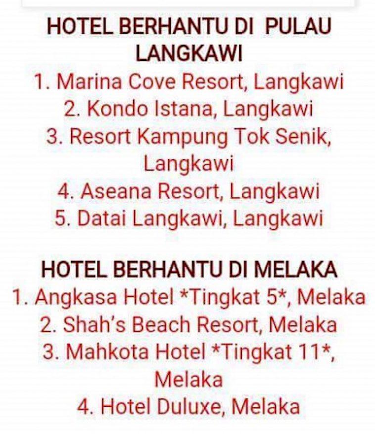 Senarai Hotel Berhantu Di Malaysia