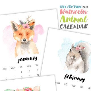 free printable 2019 animal calendar