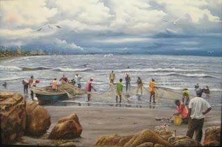 pintura de pescadores en laplaya
