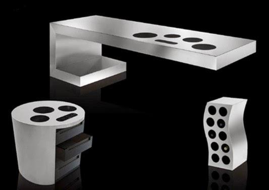 futurista de aço inoxidável conjunto de móveis de cozinha moderna