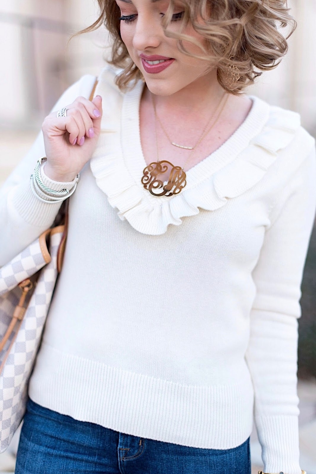 J.Crew Ruffle Sweater - Something Delightful Blog