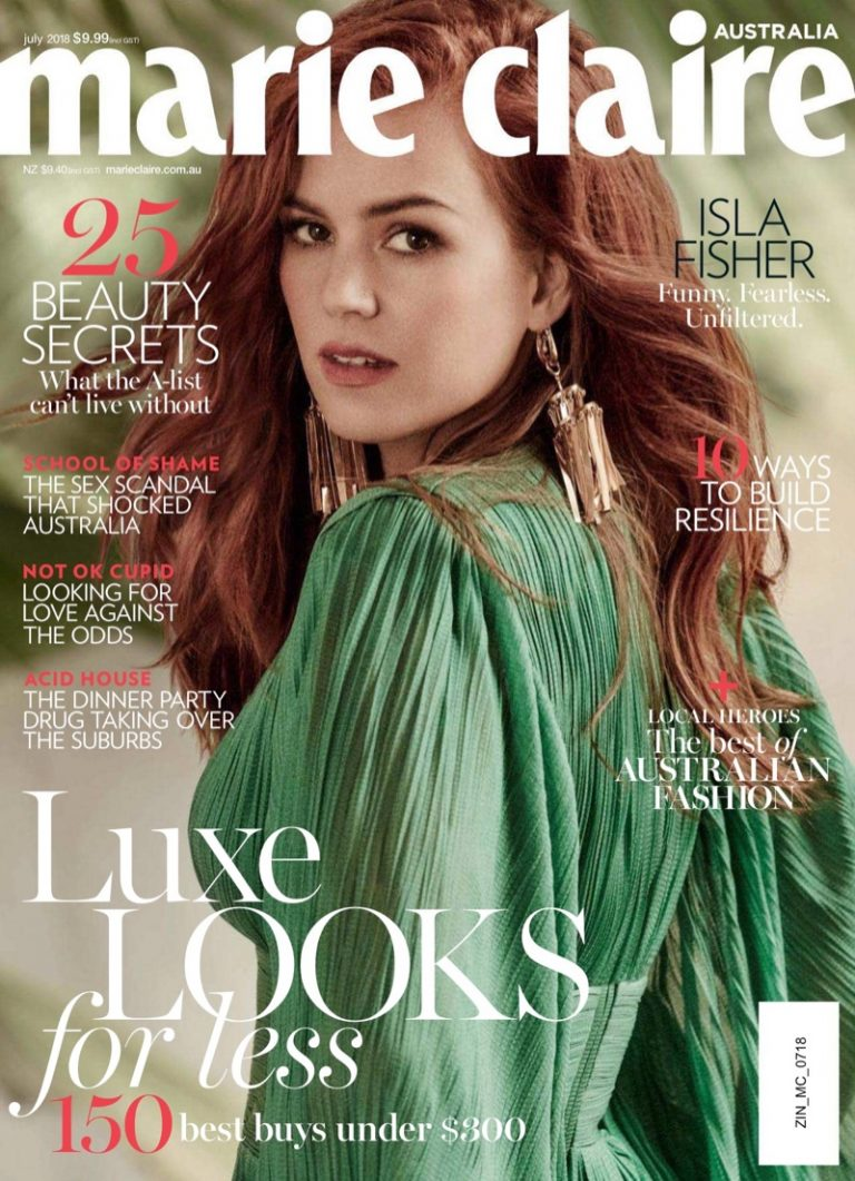 Isla Fisher on Marie Claire Australia July 2018 Cover