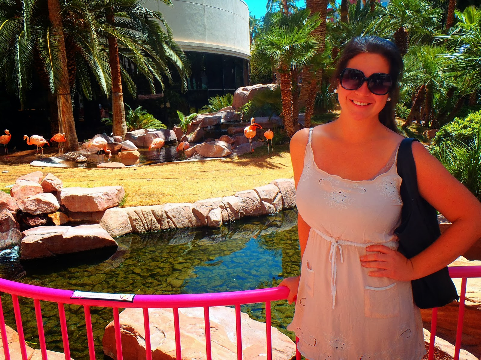 Simone standing near Flamingoes Las Vegas