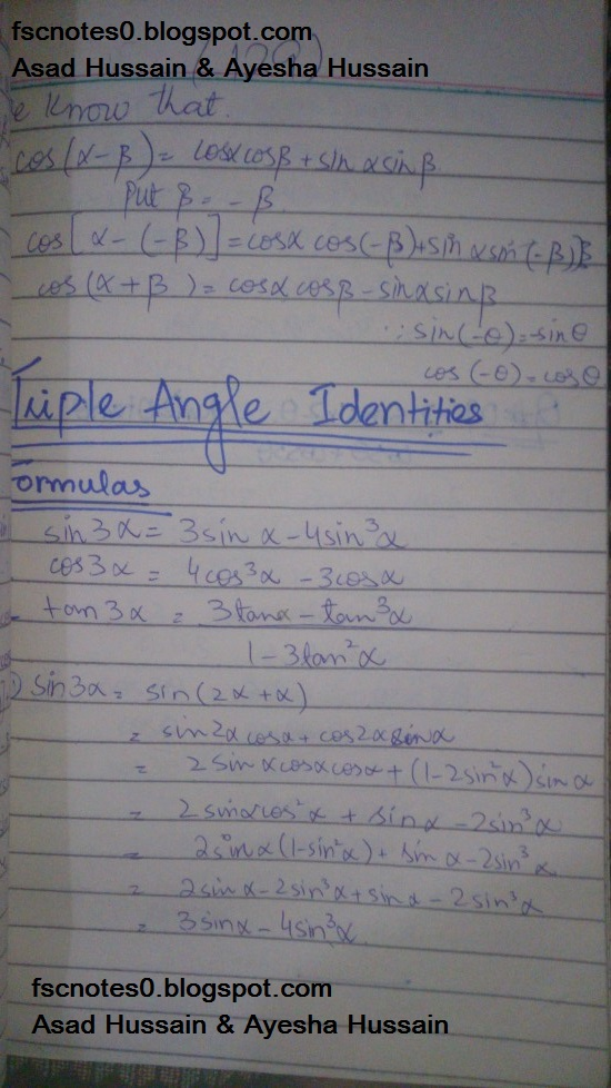 FSc ICS FA Notes Math Part 1 Chapter 10 Trigonometric Identities Triple Angle Identities Proof Written by Asad Hussain & Ayesha Hussain