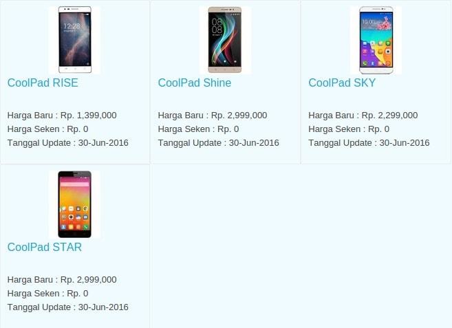 Daftar Harga Hp Terbaru CoolPad Juli 2016