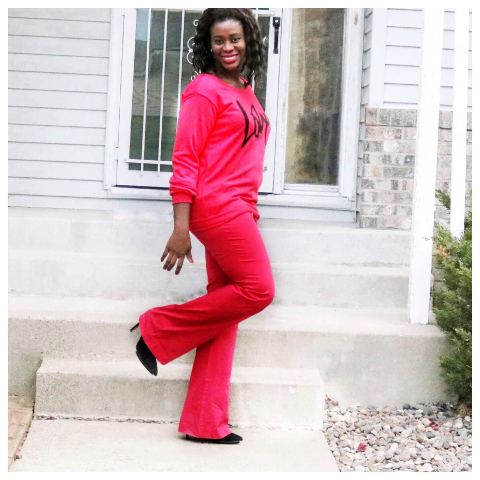 Fashion Beauty Zone: Beauty's Fashion Zone: Red Sweat Shirt + Red Trouser = LOVE