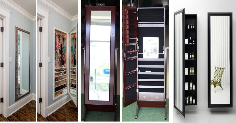 Creative Hidden Storage Cabinet Behind Mirror For Jewelry ...