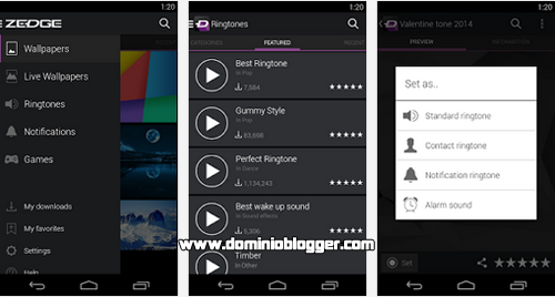 Descarga Ringtones y Wallpapers gratis desde Zedge en tu telefono movil