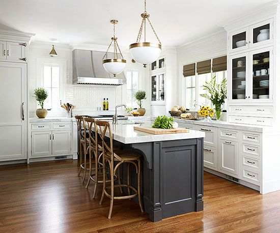 White Kitchen Black Island Bench Home Furniture Design Ideas