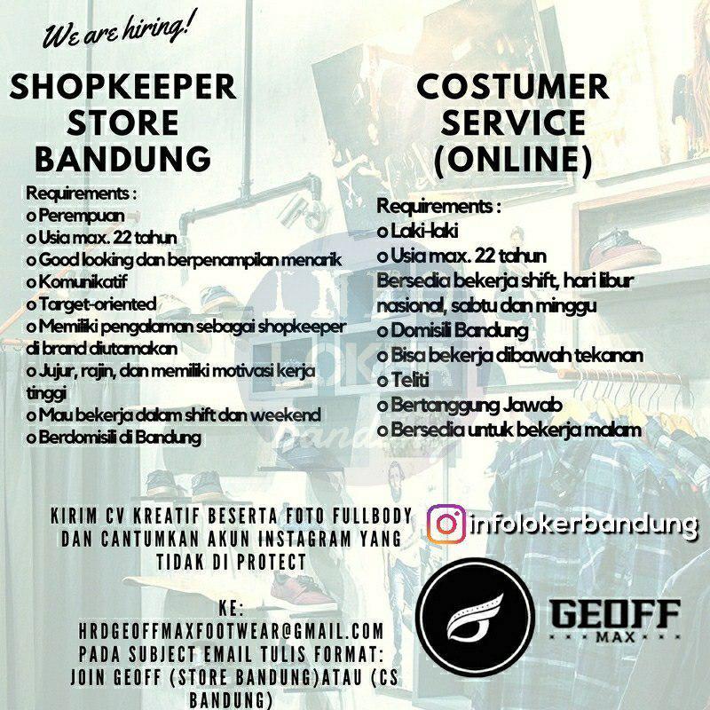 Lowongan Kerja Geoff Max Footwear Bandung April 2018