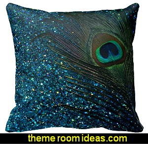 Glittery Aqua Peacock Feather Pillow Case Square Decor Cushion Cover