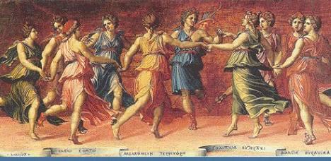 Musas dançam com Apolo, pintura de Baldassare Peruzzi.