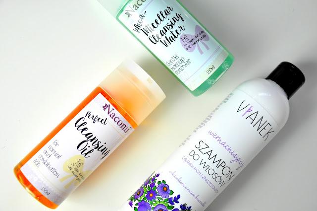 płyn micelarny nacomi, olejek do demakijażu nacomi, wzmaniający szampon do włosów vianek