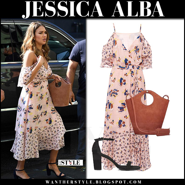 Jessica Alba in pink printed off shoulder dress tanya taylor amylia what she wore august 3 2017