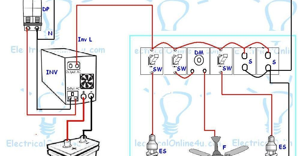 Ups Battery Wiring Diagram Perko Selector Switch & Inverter For One Room / Office ~ Electrical Online 4u - Tutorials