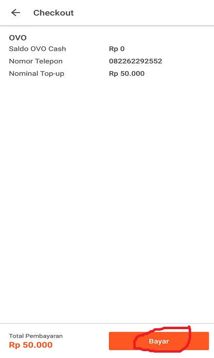 Membayar Top Up OVO Cash Tokopedia.