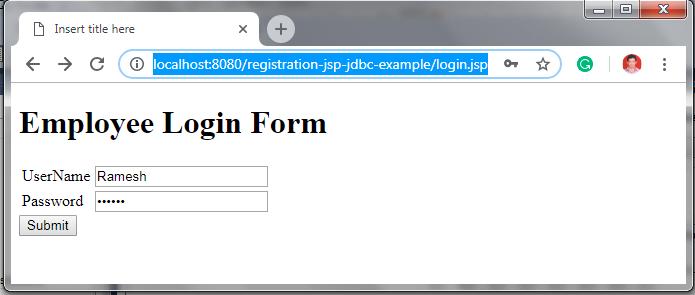 JSP Login Form + JDBC + MySQL Example