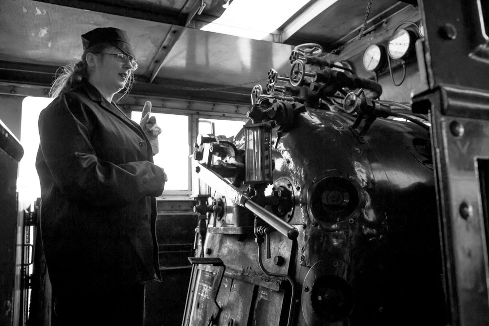 Inside the cab of Swindon and Cricklade's engine Spartan