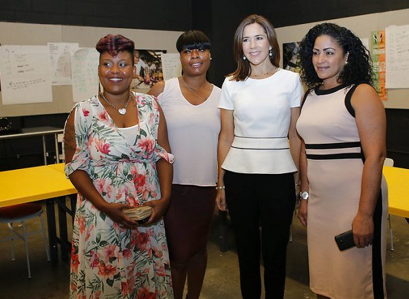 Crown Princess Mary wore Hugo Boss blouse and trousers, Gianvito Rossi pumps visit Claus Meyer's Brownsville Community Culinary Center