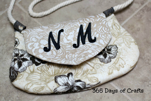 monogrammed fabric purse