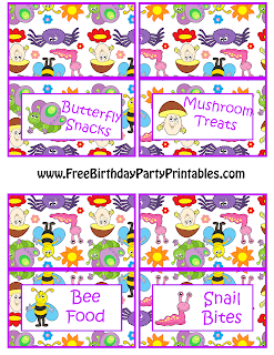 Free Bug Birthday Party Printables Food Cards